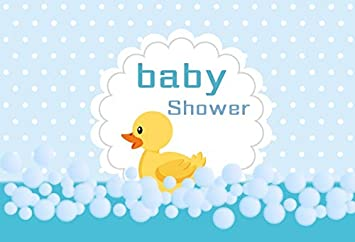 DORCEV 5x4ft Baby Shower Photography Backdrop Cartoon Yellow Duck Theme Baby Shower Birthday Party Background Cartoon Yellow Duck White Dot Bubble Kids Children Baby Shower Photo Studio Props