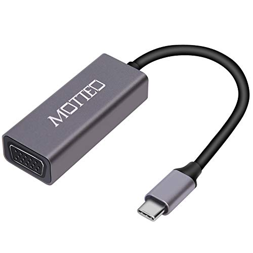 MOTTEO USB C auf VGA Adapter, Typ-C zu VGA Adapter, Aluminium USB 3.1 zu VGA kompatibel mit MacBook Pro, iPad Pro 2018, Dell XPS, Surface Book 2, Galaxy S9/S8, Huawei Mate 20/10