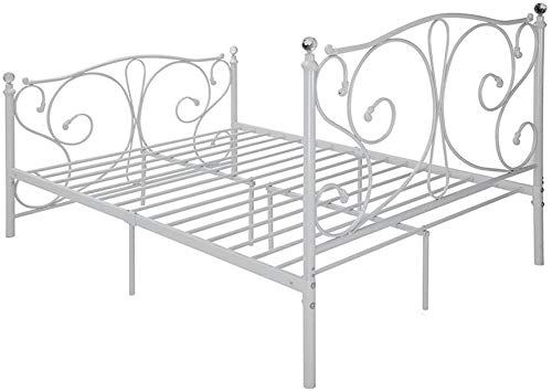 Double Metal Bed Frame Iron Bedstead, with Crystal Ornaments, Suitable for Children Adult Bedroom,White