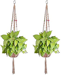 2 Pack Macrame Plant Hangers Rack for Indoor Outdoor Long Hanging Planter Handmade Woven Cotton Plant Holder Wall Hanging ...
