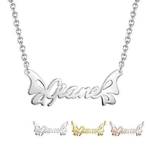 GaoSh Collana con nome farfalla Argento sterling 925 - Personalizzata con il tuo nome personale con qualsiasi nome per il compleanno delle donne San Valentino Anniversario Gioielli donna (Silver)