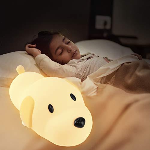 Luz Noche para Bebés, PTN Luz Noche para Perros para Bebés y Niños, Lámpara Noche, Bombilla Silicona Suave Segura para Perros con Lámpara Multicolor, Linda Lámpara Noche para Perros