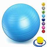 ZHENWEN Ballon de Fitness Suisse Epais Exercice de Yoga Gym Stabilité Anti-Explosion avec Pompe à Main,Bleu,40cm