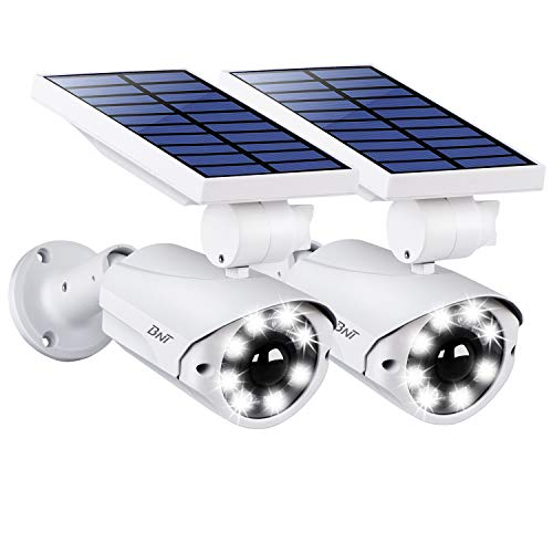 BNT Solar Lights Outdoor 800LM Bright Security Motion Sensor Light IP66 Waterproof Aluminium Metal Wireless Adjustable Flood Lighting for Yard Garage Garden Patio Porch Pack of 2 (White)