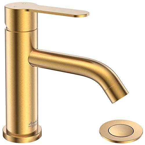 AMAZING FORCE Single Handle Bathroom Faucet Gold Bathroom Sink Faucet Single Hole with Pop Up Drain...