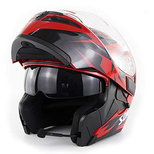 Wansheng Casco Moto Moto Bluetooth Integrato Modulare Flip Up Full Face Casco Moto D.O.T Certificazione Double Mirror MP3 Chiamata HD,Red,M57cm~58cm