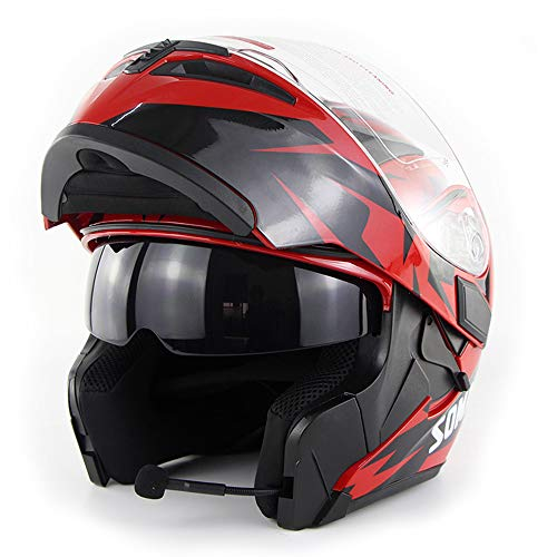 Wansheng Moto Casco de Motocicleta Bluetooth Integrado Modular Flip Up Full Face Casco de Motocicleta Certificación D.O.T Doble Espejo MP3 HD Llamada,Red,M57cm~58cm