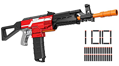 Toy Gun for Nerf Gun Darts, Automatic Toy Foam Blasters & Guns with 3 Burst Modes, DIY Customized Toy Guns for Boys, Includes 100 Foam Darts, Stem Toys for 6-12 Year Old Boys, Gifts for Kids & Teens