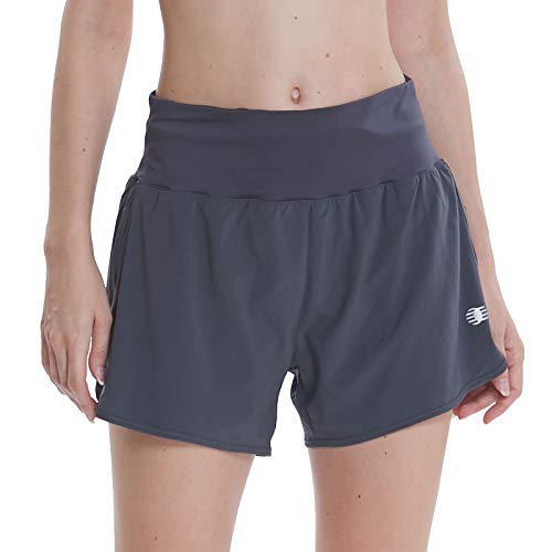 Women's 4 Inches High Waisted Workout Running Shorts Dri-Fit Lounge Gym Short with Back Zip Pocket Gray L