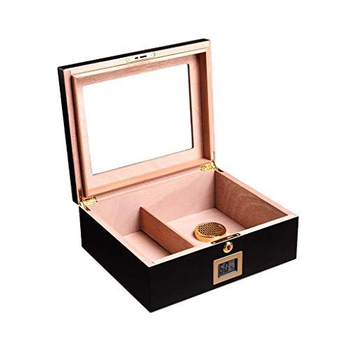Boîte de rangement pour cigares Humidor de cigache en bois de cèdre, boîte à cigares avec hygromètre avant et humidificateur, avec serrure de sécurité, approprié pour stocker environ 35 cigares (coule