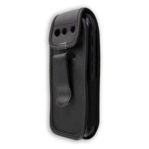 caseroxx Ledertasche mit Gürtelclip für Samsung Xcover 550 / B550 aus Echtleder, Handyhülle für Gürtel (mit Sichtfenster aus schmutzabweisender Klarsichtfolie in schwarz)