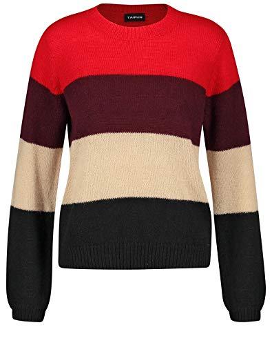 Taifun Damen 472046-15310 Pullover, Mehrfarbig (Lipstick Red Gemustert 6072), Large (Herstellergröße: L)