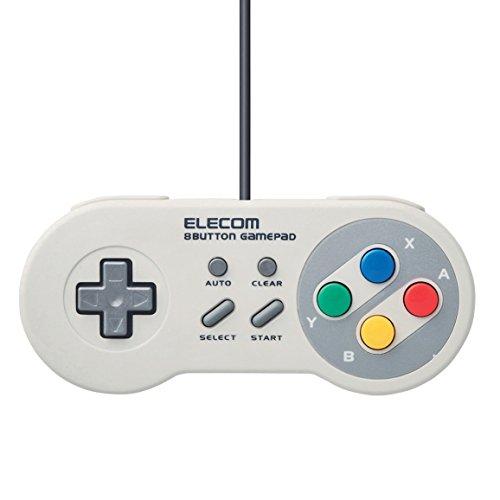 Elecom Game Pad 8 Button Super Famicon USB (SNES) Style High Endurance Button White JC-FR08TWH Japan