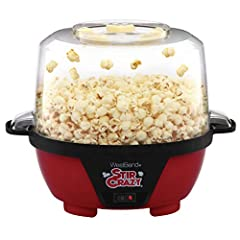 CONVENIENT: Vented clear cover doubles as a 6-quart capacity popcorn bowl EASY CLEANUP: Plate is nonstick Coated for easy clean up IMPROVED POPPING: Stir rod is motorized and improves popping, get more popped corn, larger kernels per batch EASY TO ST...