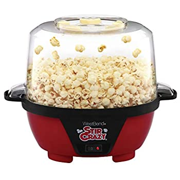West Bend 82505 Stir Crazy Electric Hot Oil Popcorn Popper Machine Offers Large Lid for Serving Bowl and Convenient Storage 6-Quart Red