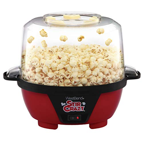 West Bend 82505 Stir Crazy Electric Hot Oil Popper Popcorn-Machine, Standard, Red