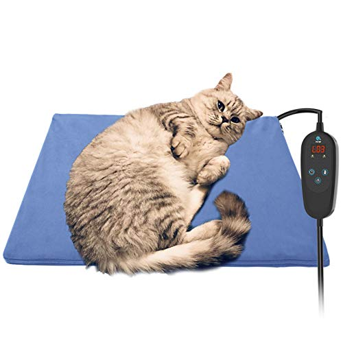 Upgraded Pet Heating Pad for Dogs Cats with Timer,19.7''x15.8'' Safety Cat Dog Heating Pad,Waterproof Heated Cat Dog Bed Mat