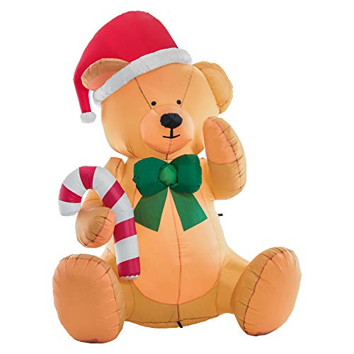 Christmas Masters 6 Foot Inflatable Teddy Bear Sitting Up with Santa Hat, Candy Cane, Green Gift Ribbon LED Lights Indoor Outdoor Yard Lawn Decoration - Cute Cuddly Xmas Holiday Party Blow Up Display