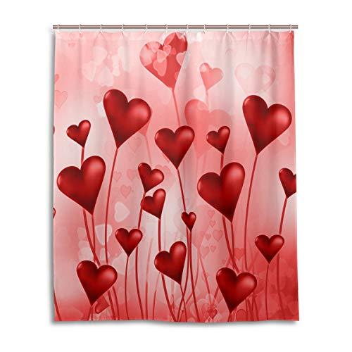 Wamika Valentinstag Love Red Hearts Duschvorhang 60W x 72H Zoll Muttertag Blumen Liebe Luftballons Badezimmer Vorhang Set mit Haken Baddekoration