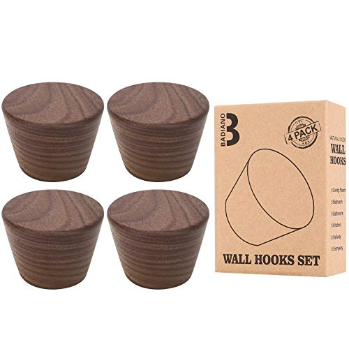Pack of 4 Wooden Wall Hat Peg, Wood Coat Hooks for Hanging Hats, Caps, Bags, Badiano Mounted Rack for Entryway, Hallway, Bedroom, Bathroom, Living Room (Brown)