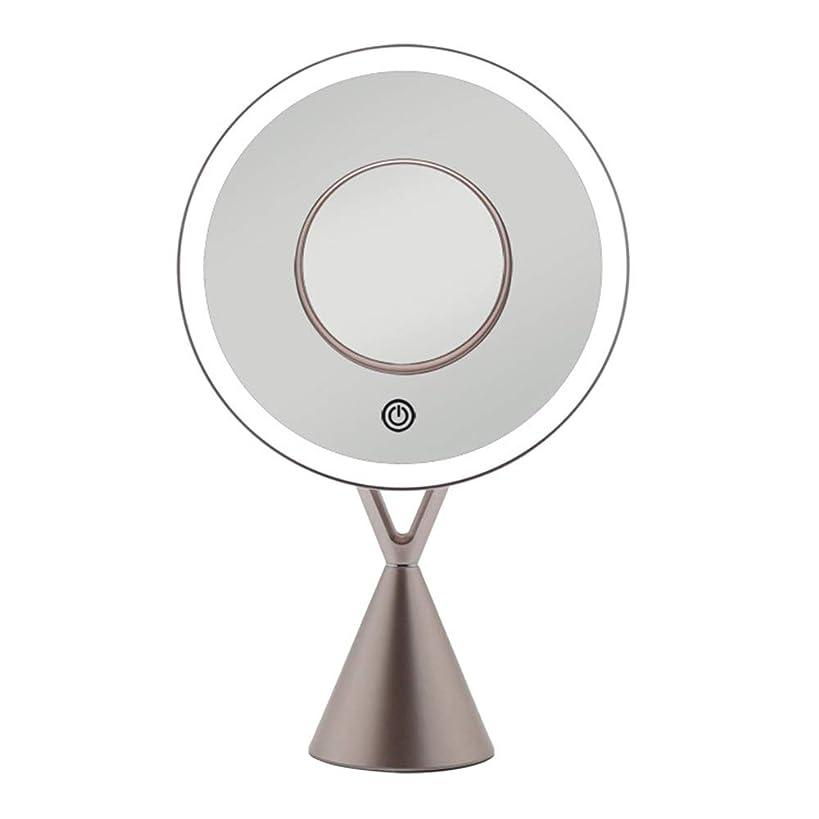 行浜辺葡萄流行の LEDフィルライトデスクトップミラー5倍磁気吸引拡大鏡45度自由調整ローズゴールドギフト