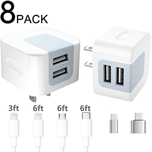 Charger Block and Cable 8 in 1, Dodoli 2.4A Dual Port Charging Box Adapter Plug Cube with Phone Cable, USB C Cable, Micro USB Cable, USB C Adapter Compatible iPhone, ipad.