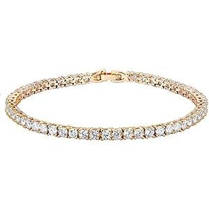 PAVOI 14K Gold Plated 3mm Cubic Zirconia Classic Tennis Bracelet   Gold Bracelets for Women   Size 6.5-7.5 Inch