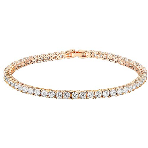 PAVOI 14K Gold Plated Cubic Zirconia Classic Tennis Bracelet | Rose Gold Bracelets for Women | 7.5 Inches