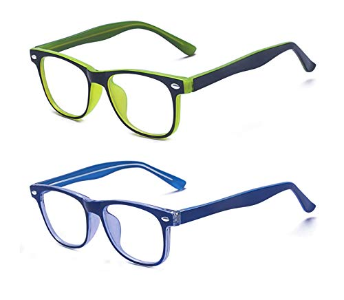 Outray 2 Pack Kids Computer Blue Light Blocking Glasses for Boys and Gilrs Age 3-12 Anti Eyestrain (Set Green+Blue, 46)