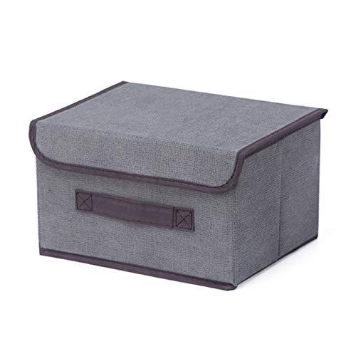 Plushfarm Caja de Almacenamiento en el hogar de Algodón Liene con Cap 25 * 19 * 16CM Ropa Calcetines Toy Snacks Sundies Oraganier Set Organizer Cosmetics Hogar (Color : Grey)