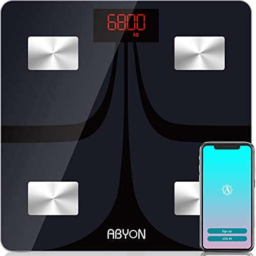ABYON Bluetooth Smart Bathroom Scales for Body Weight Digital Body Fat Scale,Auto Monitor Body Weight,Fat,BMI,Water, BMR, Muscle Mass with Smartphone APP,Fitness Health Scale