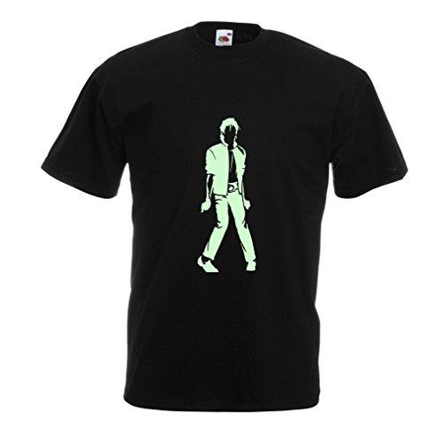 lepni.me Camisetas Hombre Me Encanta M J - Rey del Pop, 80s, 90s Músicamente Camisa, Ropa de Fiesta (Medium Negro Fluorescente)