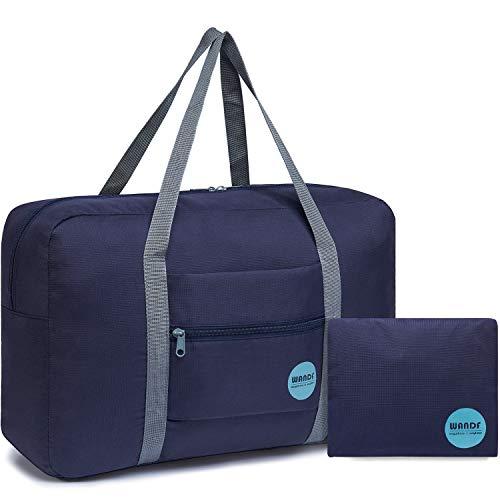 WANDF Leichter Faltbare Reise-Gepäck Handgepäck Duffel Taschen Übernachtung Taschen/Sporttasche für Reisen Sport Gym Urlaub Weekender handgepaeck (A - Blau)