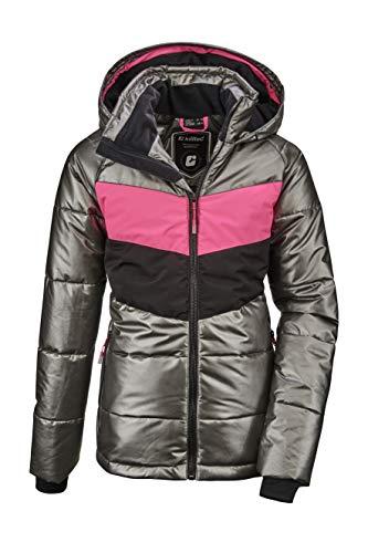 Killtec Mädchen Fiames GRLS Ski Quilted Jckt A Jacke In Daunenoptik Mit Kapuze Und Schneefang, anthrazit, 128