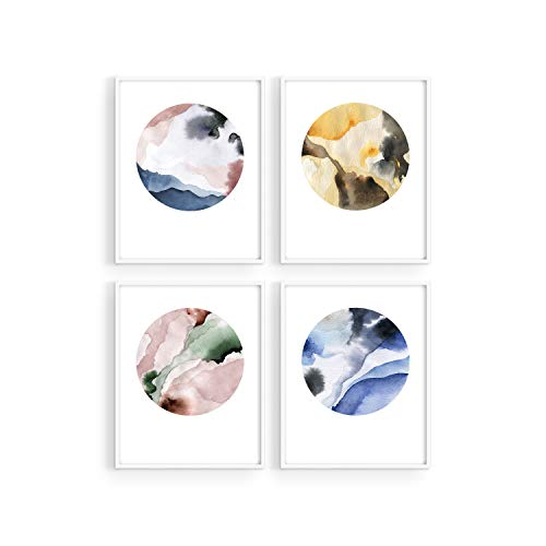 Haus and Hues Watercolor Prints Wall Art Pastel - Set of 4 Minimalist Wall Art Prints and Posters Modern Wall Art for Bedroom | Minimalistic Art Prints Modern Abstract Posters Color Swirl Circles | 8'x10' UNFRAMED