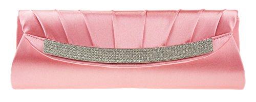 GirlyHandBags - Bolso de mano de satén con diamantes de imitación, para fiesta, boda, graduación, dama de honor, color coral