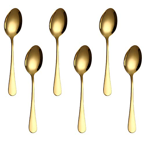 Pack of 6, Gold Plated Stainless Steel Coffee Spoon, FutGlobal Demitasse Espresso Spoons for Coffee Sugar Dessert Cake Ice Cream Soup Antipasto Cappuccino, 4.7 Inch