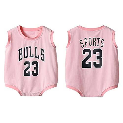 DHRBK Body de bebé Mono Bulls Jordan # 23 Pijama de Verano de Manga Corta con botón a presión Encantador Traje de Gateo