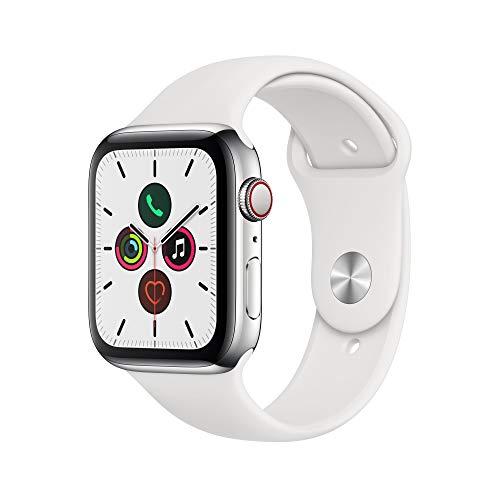 Apple Watch Series 5 (GPS+Cellular, 44 mm) Cassa in Acciaio Inossidabile e Cinturino Sport - Bianco