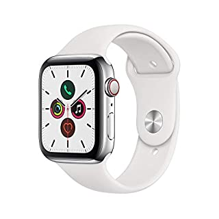 Apple Watch Series 5 (GPS+Cellular, 44mm) -  Stainless Steel Case with White Sport Band (B07XLCV9CP) | Amazon price tracker / tracking, Amazon price history charts, Amazon price watches, Amazon price drop alerts