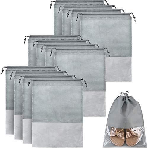 12 Stücke Reiseschuhtasche Große Schuh Organizer Tasche Vlies Aufbewahrungstasche mit transparentem Fenster und Kordelzug(Stil 4, Größe 2)