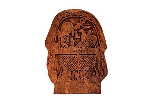 Windalf - Odin Decorativo Vikingo en Sleipnir Altura: 33 cm Tjängvide Artesanos de Madera