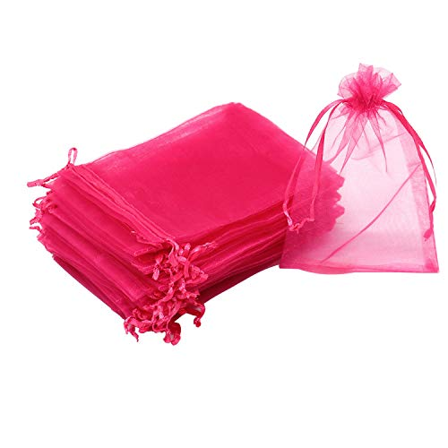 "Dealglad 100pcs Drawstring Organza Jewelry Candy Pouch Party Wedding Favor Gift Bags (7x9"", Rose)"