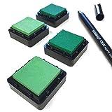 KATINGA Stempelkissen (4er Set) GRÜN mit Stift für Fingerabdrücke, zum Basteln und zum kreativen Gestalten (4er grün)