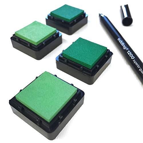 KATINGA, cuscinetti per timbri, set da 6, nei colori pastello rosa e blu, con penna per impronte digitali, per fai da te e per lavori creativi