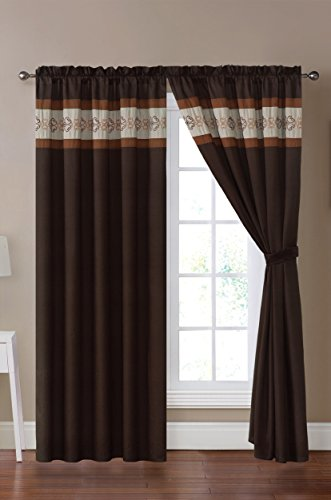 """Grand Linen Modern Brown, Taupe Adya Curtain Set 116"""" Wide X 84"""" Long (2 Pieces of 58"""" X 84"""" Panels)"""