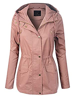 MixMatchy Women's Lightweight Front Zipper Solid Utility Anorak Hoodie Vest/Jacket Mauve L