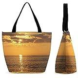yanfind Shopping Bag for Ladies Carolina Sea Afterglow Morning Ocean Porpoise Beautiful Sunrise Sunset Bird Sunrise Reusable Multipurpose Bag