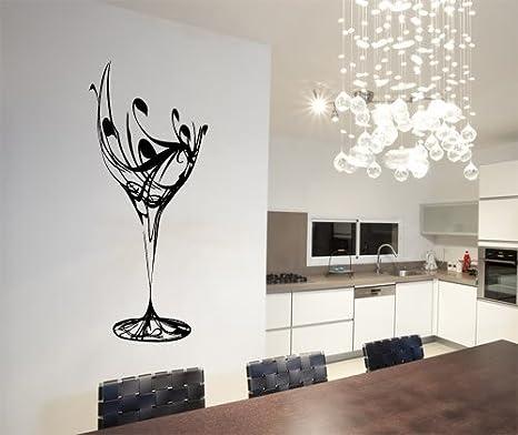 Bicchiere Vino Bottiglia Cucina Sala Soggiorno Decal da Parete Adesivo Arte Foto