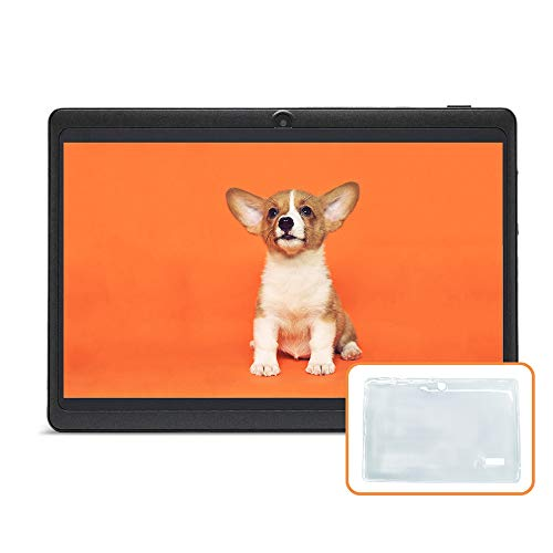 JINYJIA 7' Tablet PC - Google Android 9.0 GMS HD Tablet Equipada con Funda de Silicona Translúcida, 1GB RAM 16GB ROM Quad Core, WiFi, Bluetooth, Negro